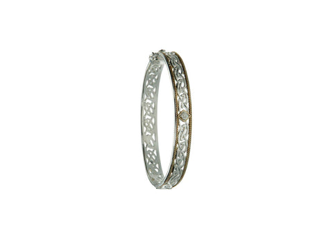 Window to the Soul Bangle, Sterling Silver+10k Diamond tw 0.06 ct | Keith Jack - Tricia's Gems