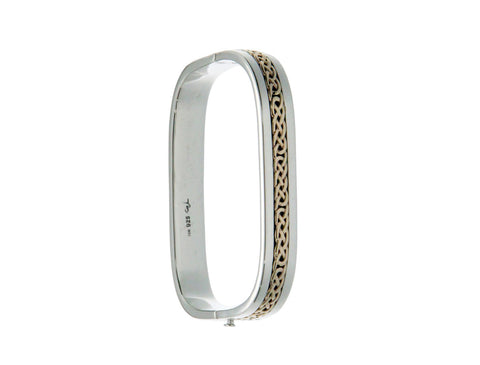 TV Bangle with Eternity Weave, S/sil+10k Gold
