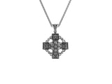 Celtic Wheel Cross PendantS/sil Oxidized White Topaz