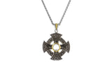 Cabachon Wheel Cross Pendant-S/sil Oxidized + 10k White Topaz