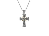 Celtic Small Cross Pendant-S/sil Oxidized + 10k White Sapphire