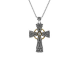 Celtic Cross Pendant-S/sil Oxidized + 10k White Sapphire