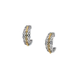 Half Creole Bridge Earrings-S/sil Rhodium + 10k Yellow or Rose Gold CZ