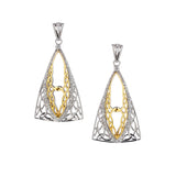 Gateway Earrings-S/sil Rhodium + 10k CZ Tower Gateway Earrings