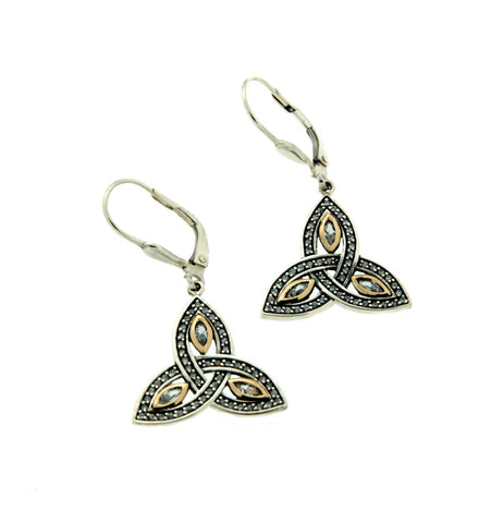 Trinity Knot Marquis CZ Leverback Earrings | Keith Jack - Tricia's Gems