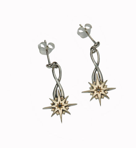 Norse Forge Compass Star Post Dangle Earrings - Tricia's Gems