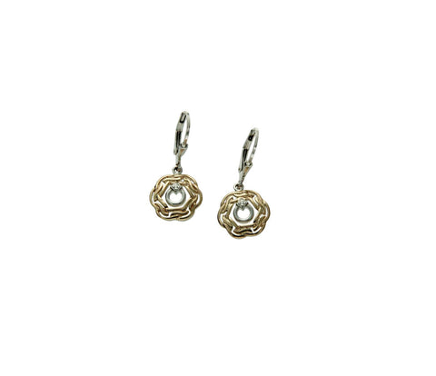 Woven Spiral CZ Earrings, S/sil+10k - Tricia's Gems