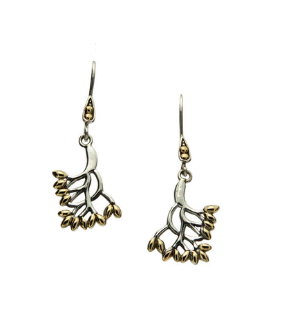 Tree of Life, Small Hook Earrings, SS+18k Gold - Tricia's Gems