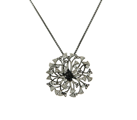 White and Black CZ Knight and Day Flower Pendant | Keith Jack - Tricia's Gems