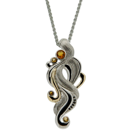 """Air"" Element Pendant with Citrine and Black Spinel, S/sil+10k Gold"