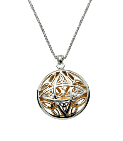 Trinity Knot Double Sided Pendant, Sterling Silver+22k  Gilded - Tricia's Gems