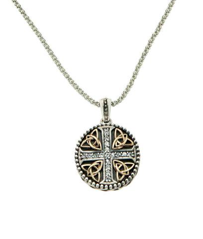1.7mm White Sapphire Trinity Cross Oxidized Pendant, S/sil+10k Gold