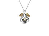 Cab Double Headed Dragon Small Pendant -S/sil Oxidized + 10k White Topaz ragon Small Pendant - Tricia's Gems