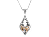 Butterfly Pendant-Ruthenium coated Sterling Silver with 10k Rose Gold and Cubic Zirconia - Tricia's Gems