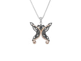 Butterfly Pendanat- Ruthenium Coated Sterling Silver and 10k Rose Gold with Cubic Zirconia - Tricia's Gems
