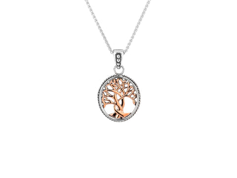 Tree of Life Pendant Small-S/sil + 10k Rose Gold Tree of Life Pendant Small