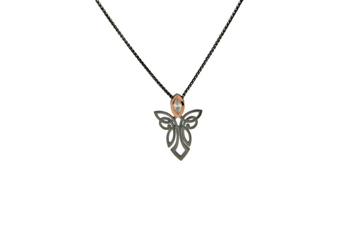 Angel Pendant, Ruthenium and Rose Gold
