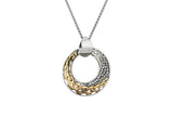 Comet White Topaz Pendant-S/sil + 10k with Gold Eternity Knot