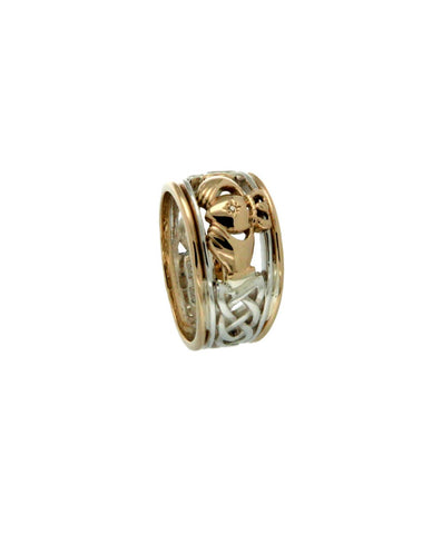 Claddgah Stack Ring with Heart Set Diamond | Keith Jack S/sil+10k Gold Rails, Sizes 6-13 - Tricia's Gems