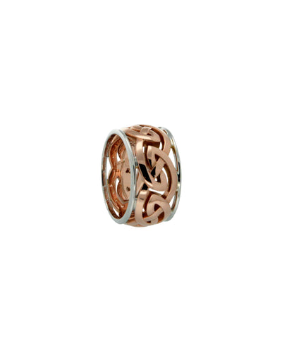 "10k Gold Eternity Knot X-Wide with Rails ""Ronnach"" Ring - Tricia's Gems"