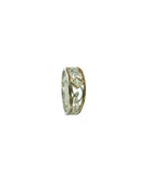 "1.5mm Diamond Set Eternity Knot ""Rosail"" Ring (Tapered),  S/sil+10k Gold"