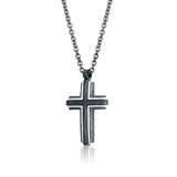 "ITALGEM STEEL STAINLESS STEEL GUN IP CROSS 22"" ROUND BOX NECKLACE"
