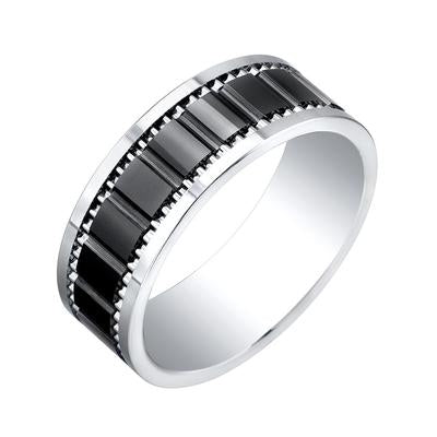 ITALGEM STEEL SUPER TITANIUM - TUNGSTEN WITH BLACK CERAMIC CENTER 8 MM BAND - Tricia's Gems