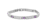 ITALGEM STEEL PURPLE CZ GREEK- KEY BRACELET
