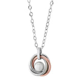 ITALGEM STEEL ROSE-IP S.STEEL 8 MM-FRESH WATER-PEARL PENDANT-NECKLACE