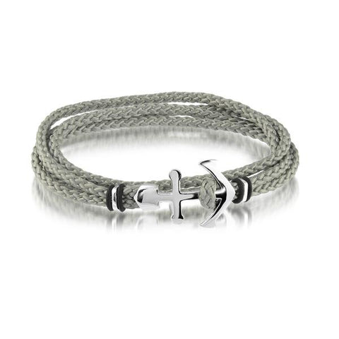 Anchor Clasp Grey Cord Bracelet - Tricia's Gems
