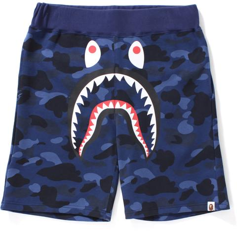 Bape Color Camo Shark Sweat Shorts - Blue Camo