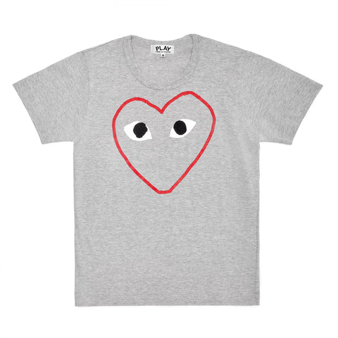 Comme Des Garçons PLAY Outline Heart T-shirt- grey/red