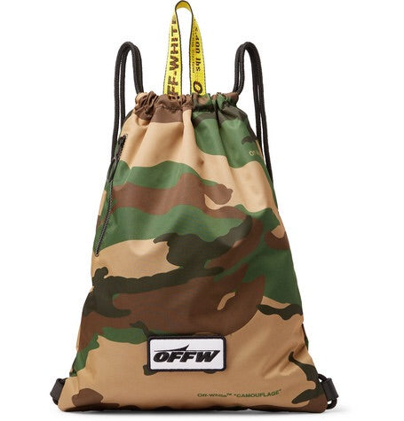 Off-White Camouflage Print Shell Drawstring Backpack