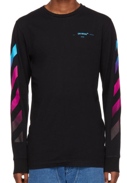87aa3b0a0f75 Off-White Black Diagonal Gradient Long Sleeve T-Shirt – Authentic Sole  Boutique