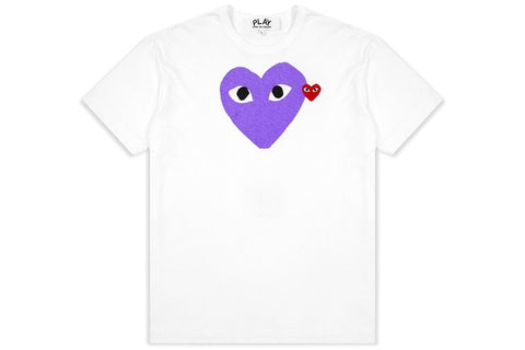 Comme Des Garçons PLAY Red Emblem Heart T-shirt- purple