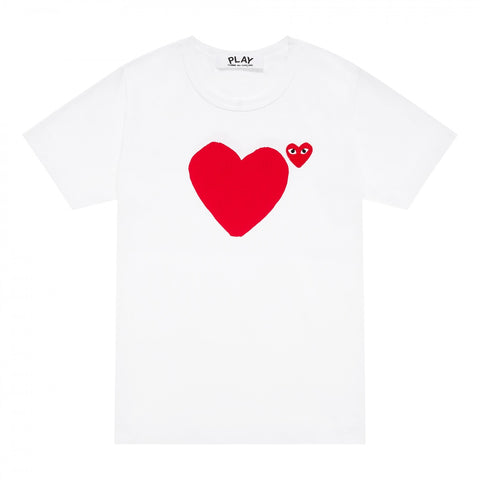 Comme Des Garçons Red PLAY T-shirt with Red Heart - white