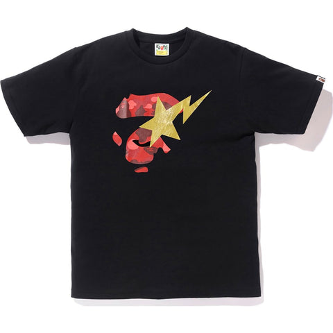 Bape Color Camo Ape Face On Bapesta Tee