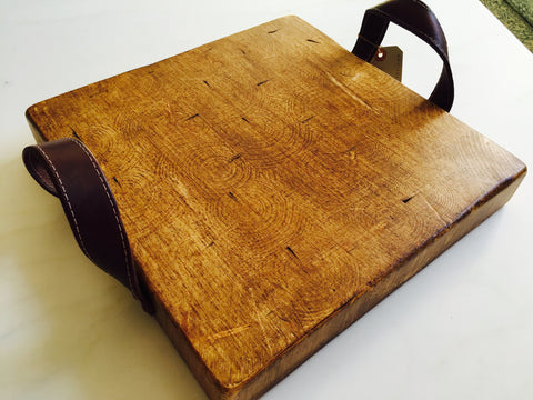 Serving Board/ Cutting Board With Leather Handles