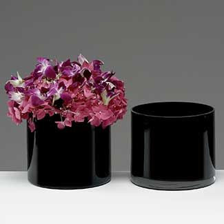 "Black 5"" Cylinder Vase Glass Vase wedding centerpiece - Richview Glass Wedding Supplies"