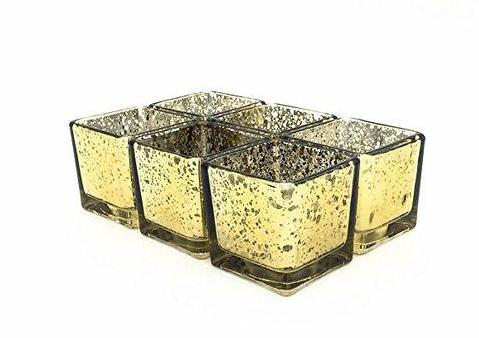 "Mercury gold 6"" Cube Vase Clear Glass wedding centerpiece"