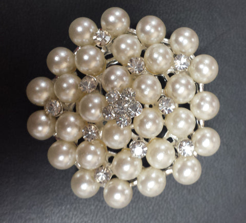 "Pearl Silver Diamond Rhinestone Brooch 1.75"" - Richview Glass Wedding Supplies"