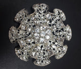"Bow tie Silver Diamond Rhinestone Brooch 2.5"" - Richview Glass Wedding Supplies"