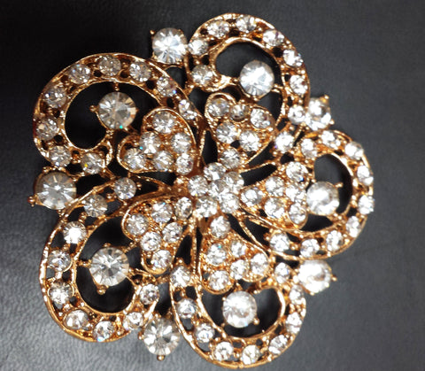 Gold Diamond Brooch decoration - Richview Glass Wedding Supplies