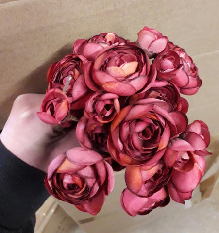 Burgundy Ranunculus bunch artificial wedding decor (6xMini Silk flower)