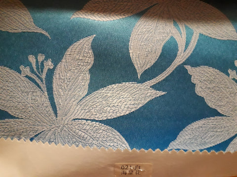 "Visa Damask Table Cloth Square 90""x156 (Blue with Flower)- 021"