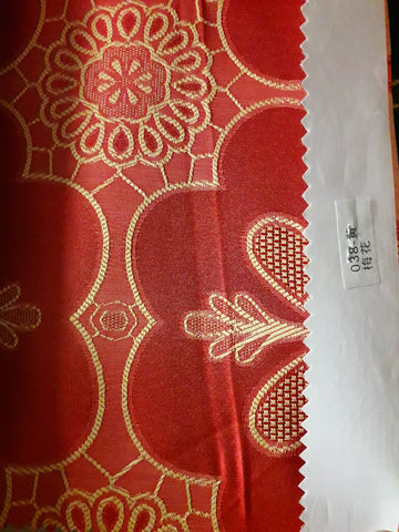 "visa damask Table Cloth Square 90""x156 (Red with Yellow flower)- 038"