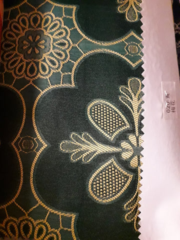 "visa damask Table Cloth Square 90""x156 (Dark Green with Yellow flower)- 020"
