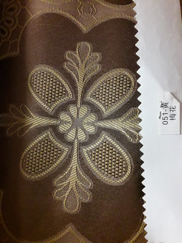 "visa damask Table Cloth Square 90""x156 (Brown with Yellow flower)- 051"