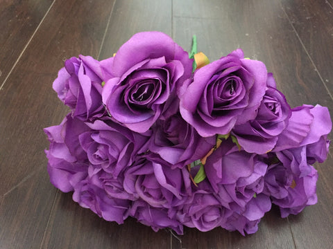 18 HEAD ROSE BUNCH WITHOUT LEAVES IN (Light purple)-579553C3-18H-3 - Richview Glass Wedding Supplies