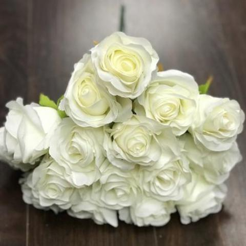 18 HEAD ROSE BUNCH WITHOUT LEAVES IN (IVORY)-579553C3-18H-1 - Richview Glass Wedding Supplies